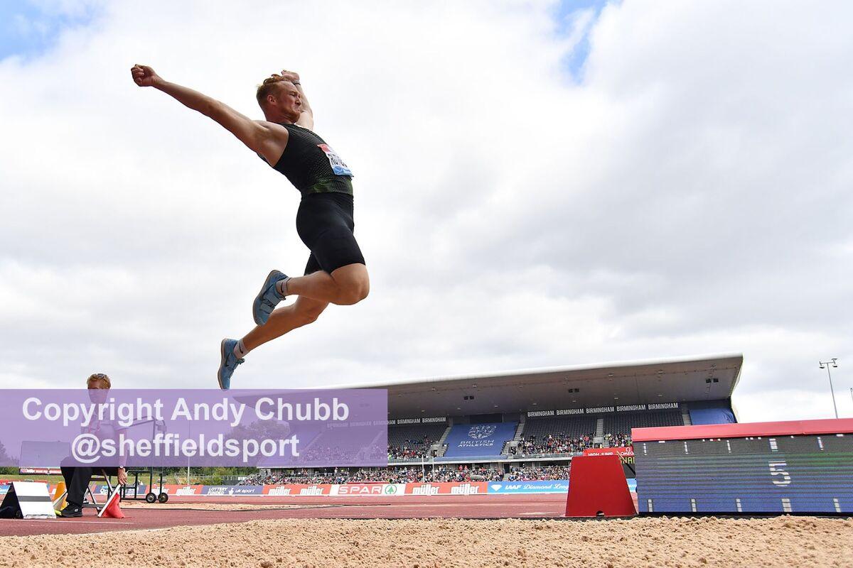 Greg Rutherford, long jump, Diamond League, Alexander Stadium, Birmingham, August 2018