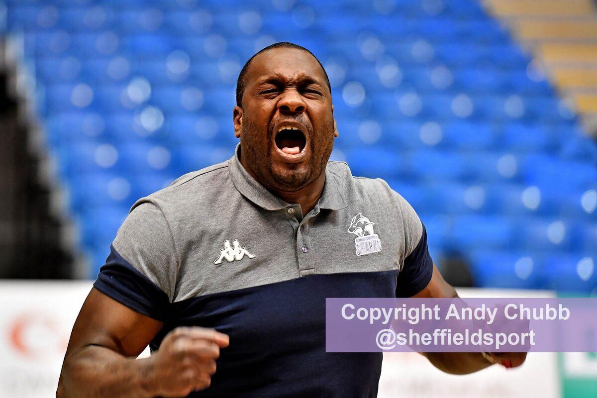 Atiba Lyons, coach, Sheffield Sharks, Ponds Forge, April 2021