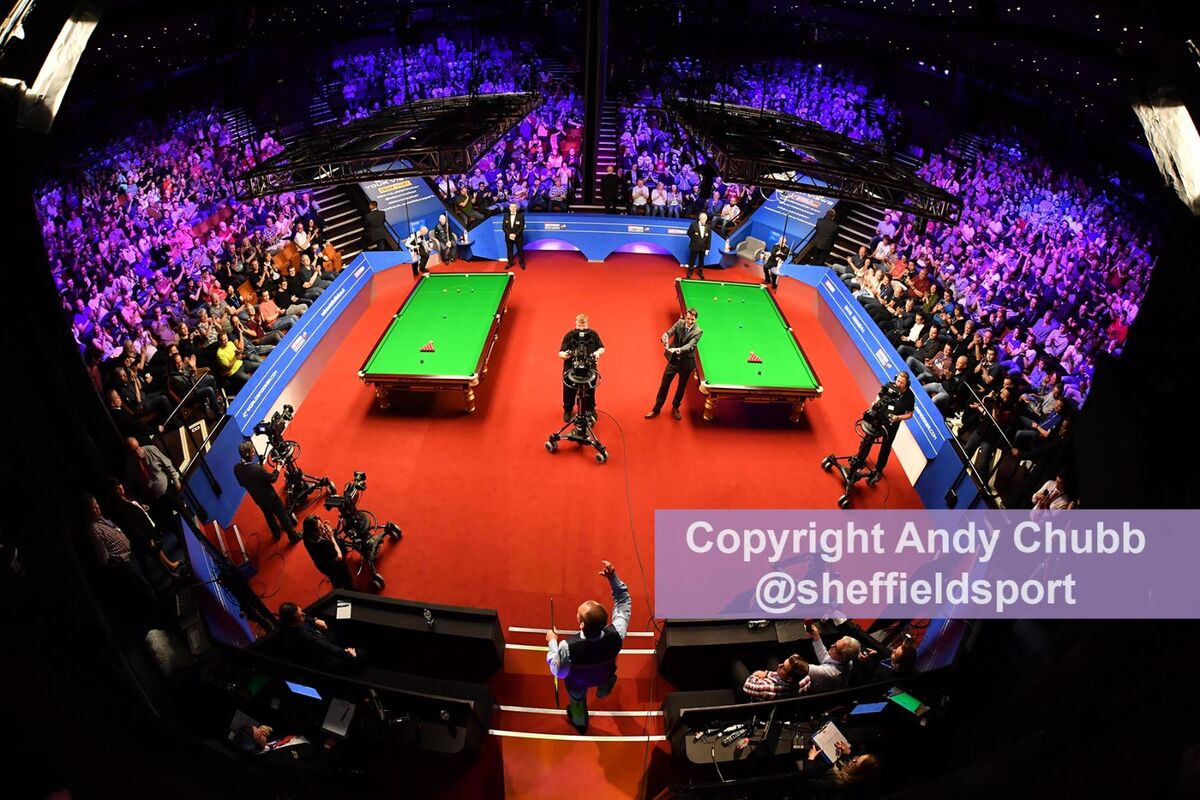 Champion Mark Williams walks out on the opening day of the 2019 World Snooker Championship, Crucible Theatre, Sheffield, April 2019