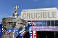 The trophy outside the Crucible for press call, April 2018