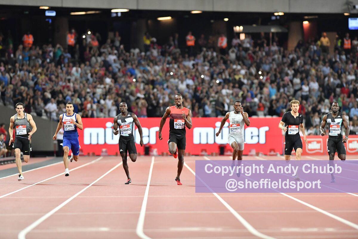 Usain Bolt, 100m, Anniversary Games, London Stadium, July 2016