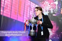 Monika Sulkowska with the trophy, Crucible Theatre, Sheffield, April 2016