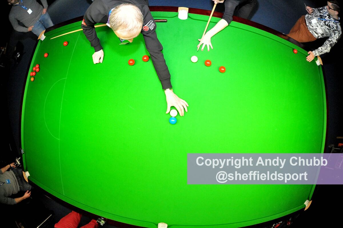 Fish-eye shot of the practice table with Eurosport journalists, Crucible Theatre, Sheffield, April 2016