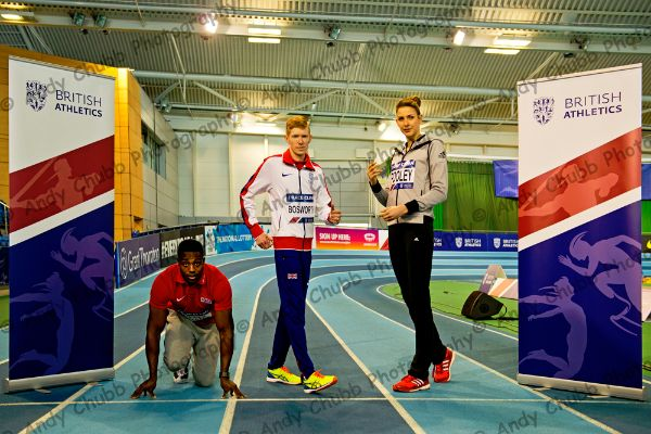 Harry Aikines-Aryeetey, Tom Bosworth, Isobel Pooley, Press call, UK Indoor Championships