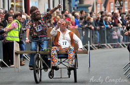 Named in honour of Wizard (left), who has sadly passed away, pictured with Phil in Kington Wheelbarrow Race