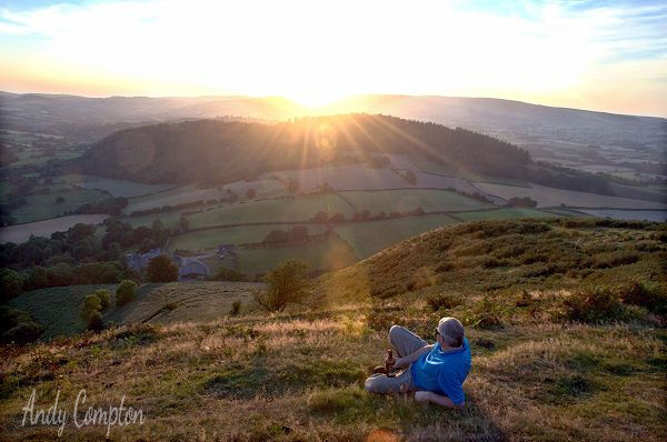 Enjoying the sunset off Bradnor Hill