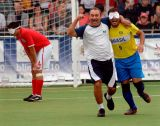 The Brazilian team celebrate a goal against England in the Blind World Cup.