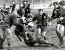 A Hereford rugby player is tackled by a rival from Ludlow during a cup game. One of my earlier sports photographs but I was pleased with my timing!