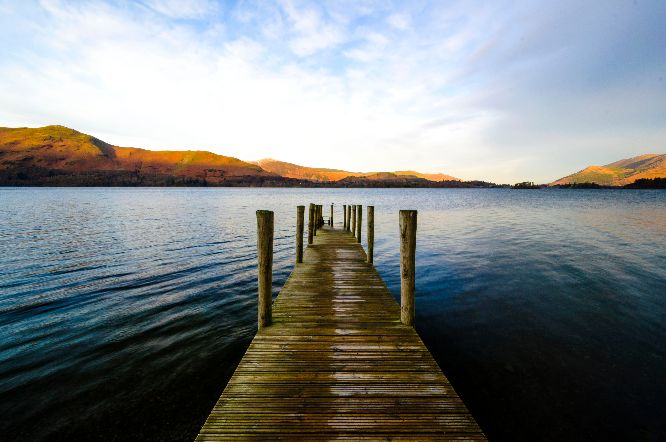 Pier into lake at Derwentwater