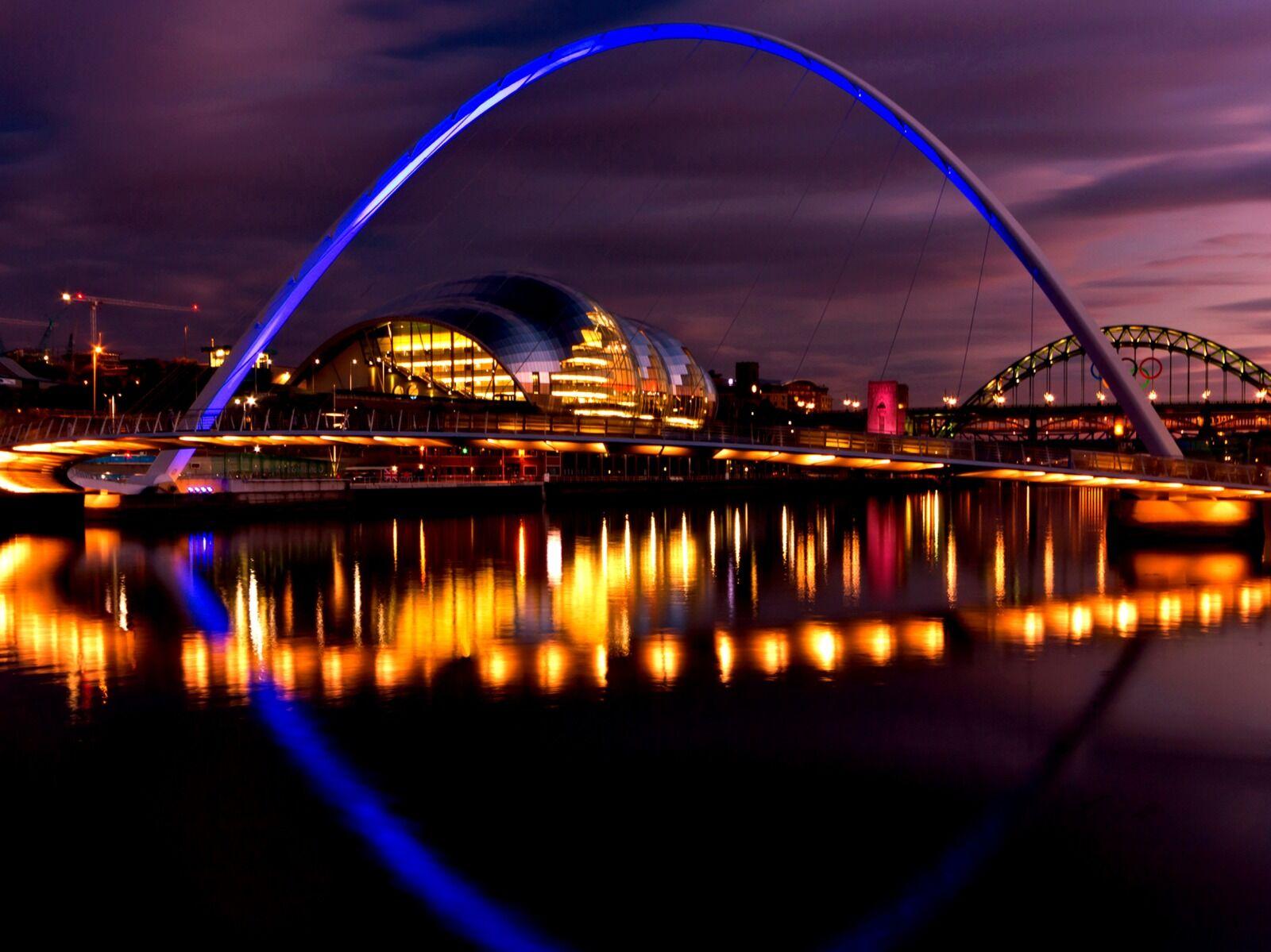 Newcastle Quayside Tyne Bridge  Olympic Rings