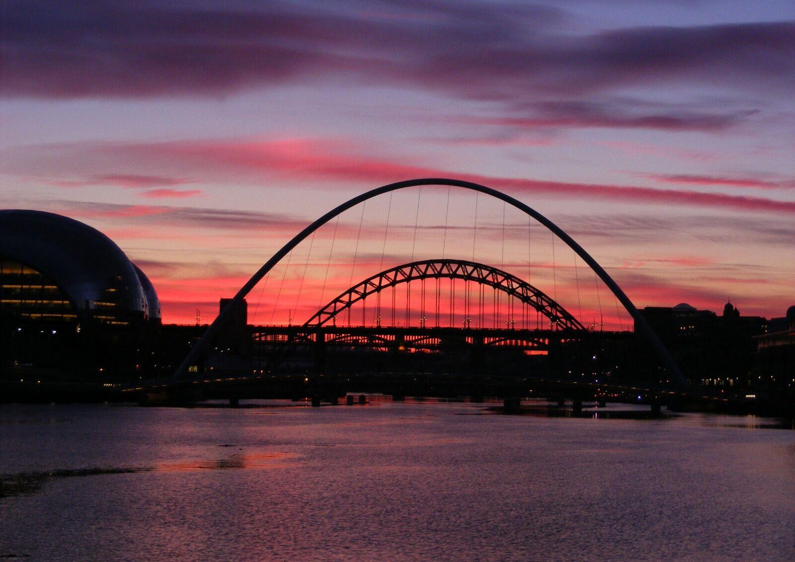 Newcastle Tyne Bridge  and Millennium Bridge Pink Skies