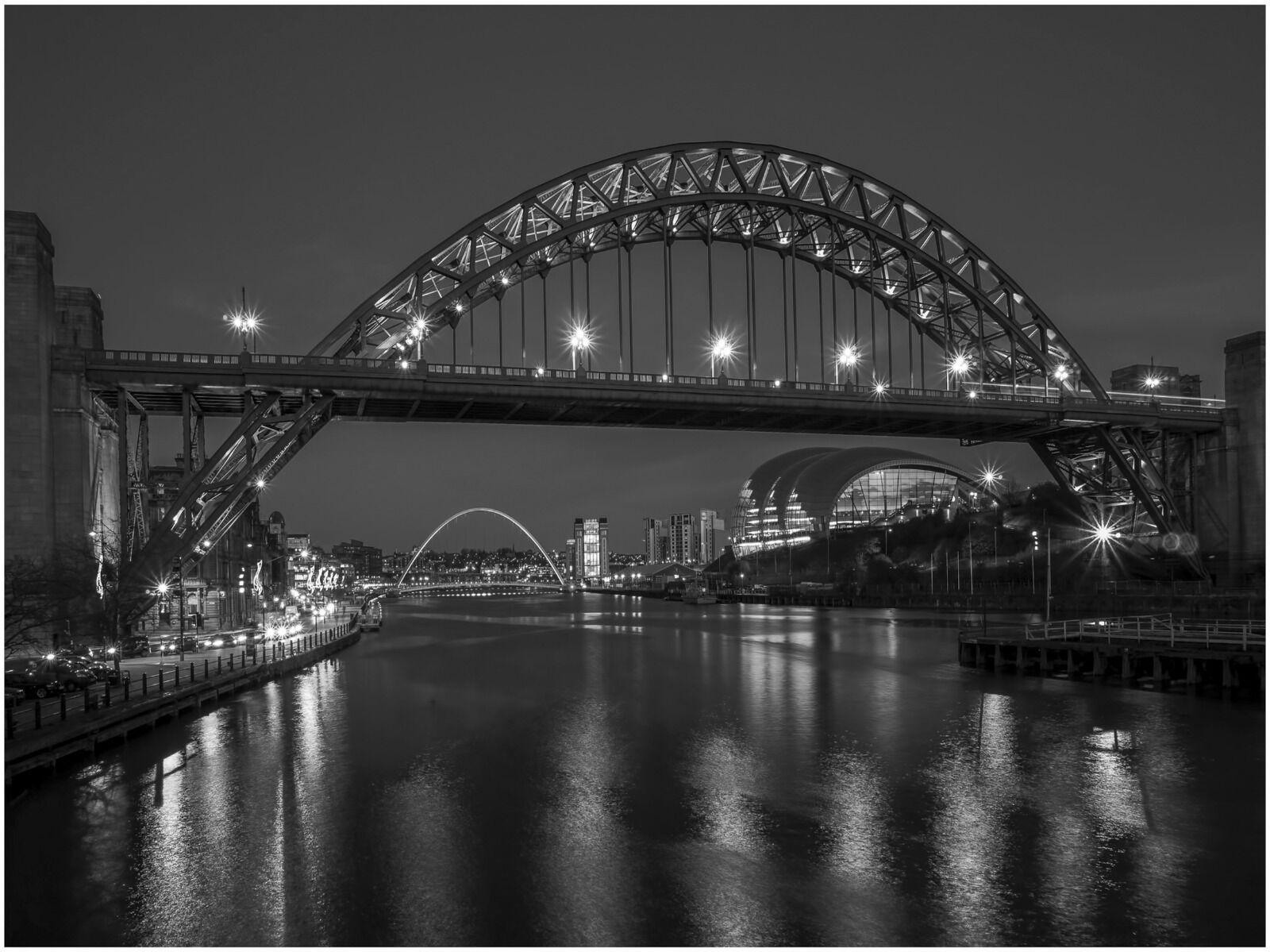Newcastle Tyne Bridge At Night