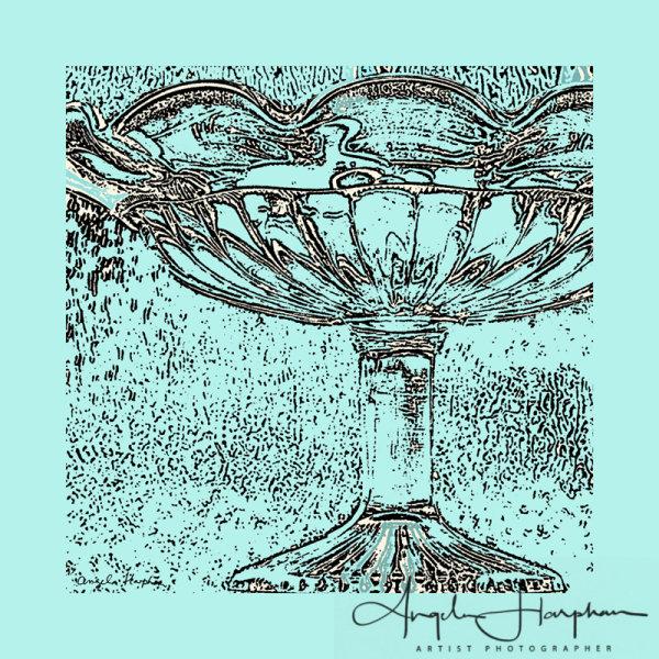 Edwardian Glass Dish Turquoise
