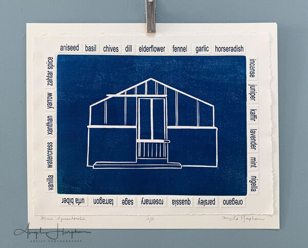 Blue Greenhouse Woodcut
