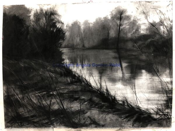 The River Avon, charcoal drawing