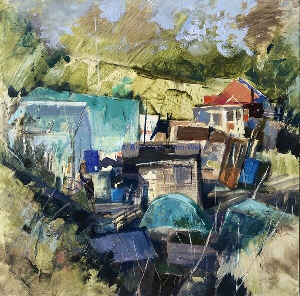 Allotment jumble oil painting contemporary colours