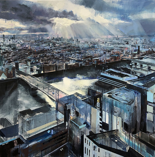 London from Skygarden oil on canvas painting