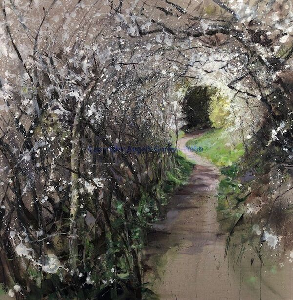 Blackthorn tunnel oil painting contemporary oil on linen sloes light