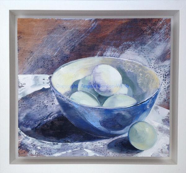 Blue, Eggs, bowl, still life