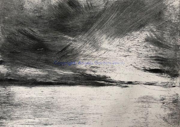 Monoprint, monochrome,weather,  West Coast of Scotland, 29cm x 20cm