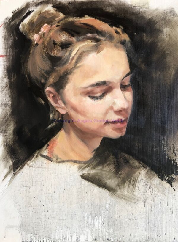 portrai, painting, oils, girl, head
