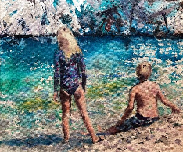 Blue green seas children beach pebbles heat sun Greece oil on canvas