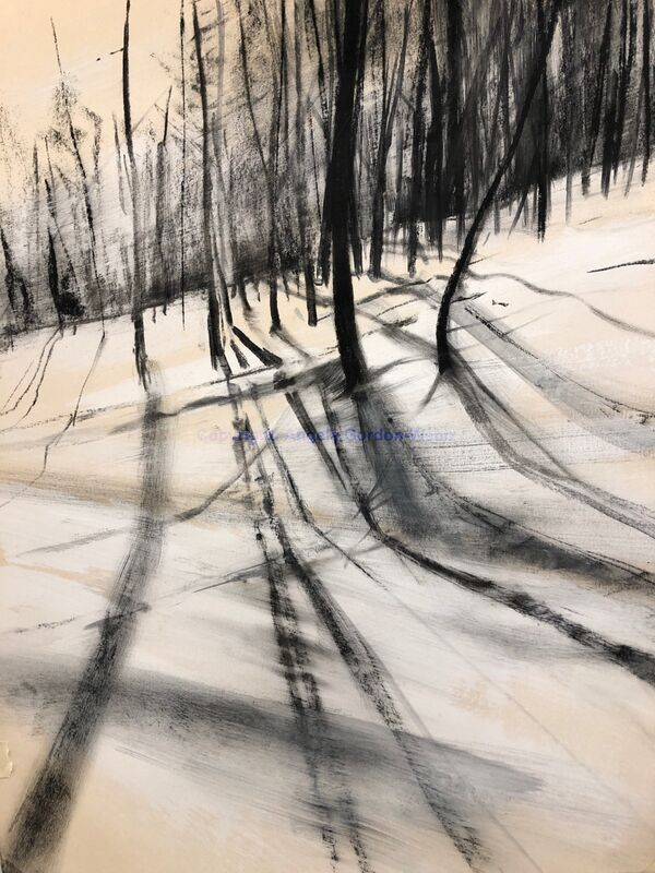 charcoal and acrylic drawing, mountains, snow, ski run, shadows, winter, work on paper, Val de'Isere