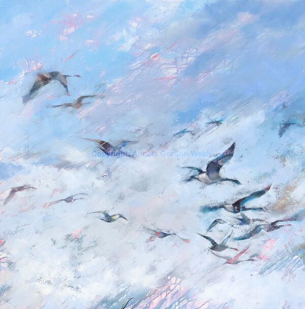 Migration, Canada Geese, oil painting on canvas, big sky