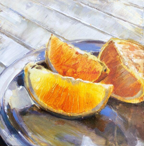 orange slices, oil painting, board, juicy