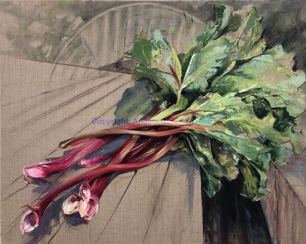 rhubarb, oil on linen, allotment produce, painting