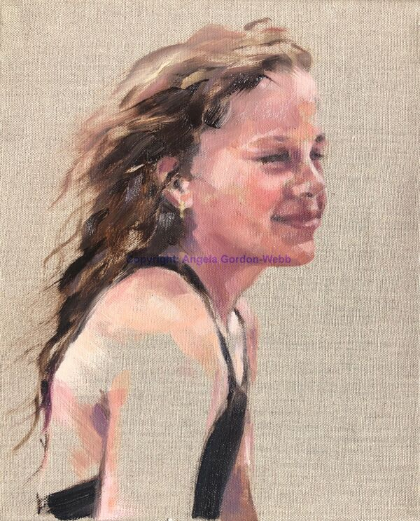 portrait oil on linen young girl wind in the hair beach