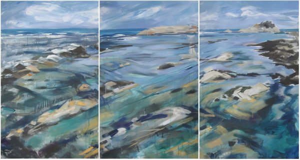 Blue water triptych
