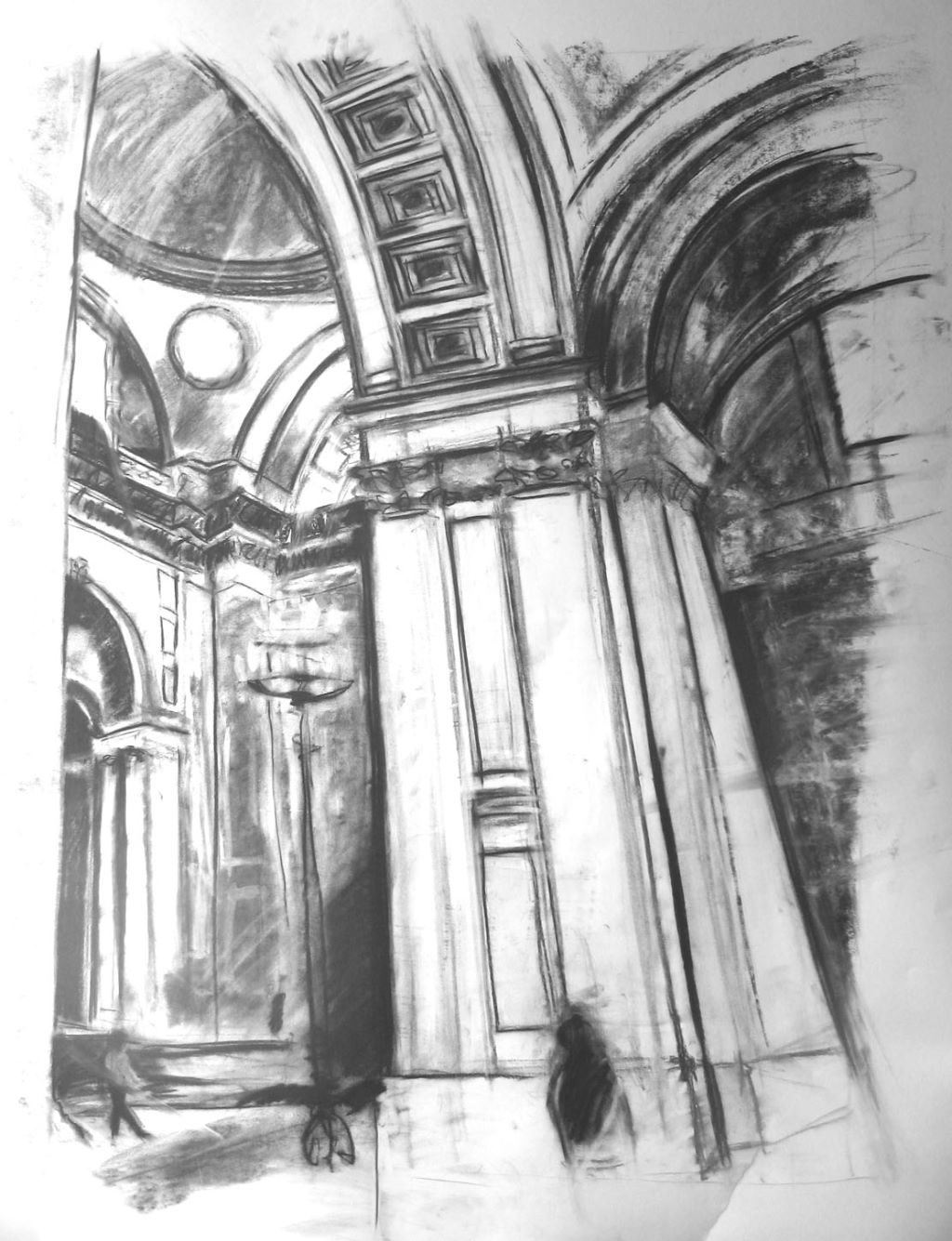 St Paul's Interior charcoal drawing