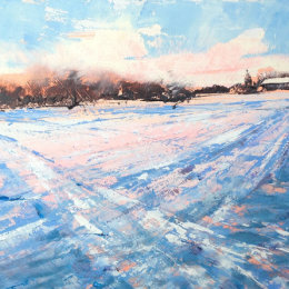 Towards St James in the snow, Old Milverton, 2