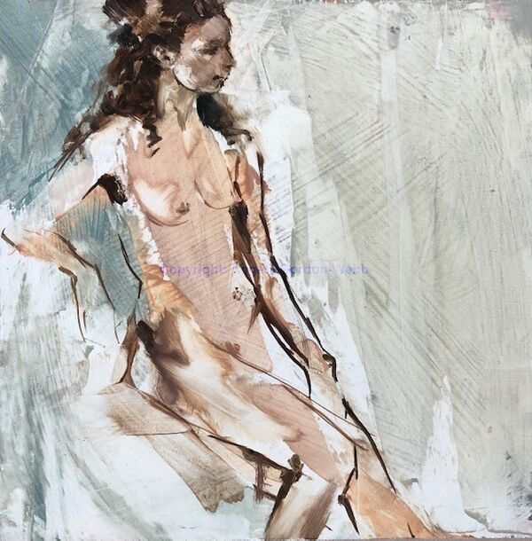 Nude, painting, oil, board