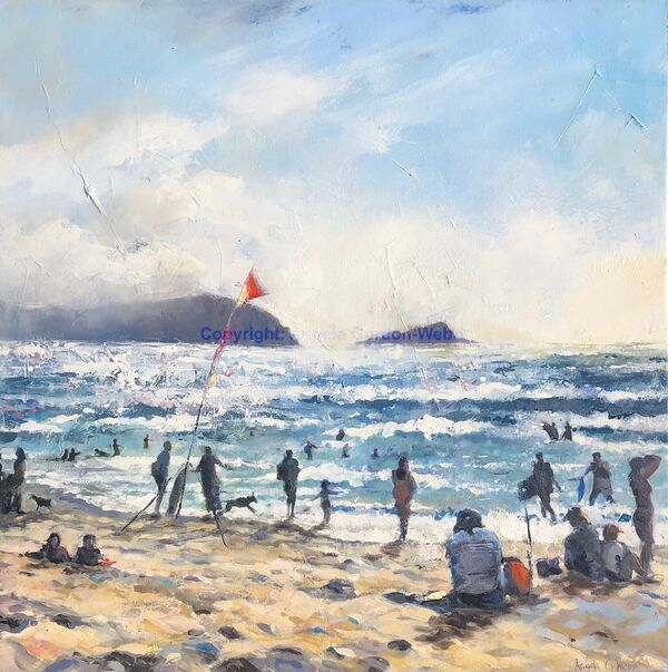 contre jour, Fistral Beach, Newquay, oil painting, hot sun, Cornwall