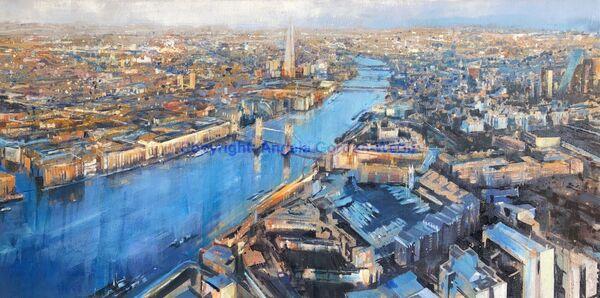 London Aerial sunrise River Thames Oil on linen the Shard