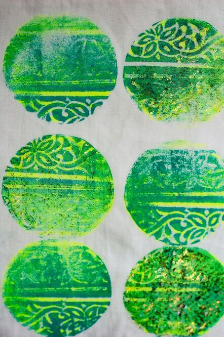 Debbie's colourful experiments with blue blocks during the 'Print Impressions' workshop