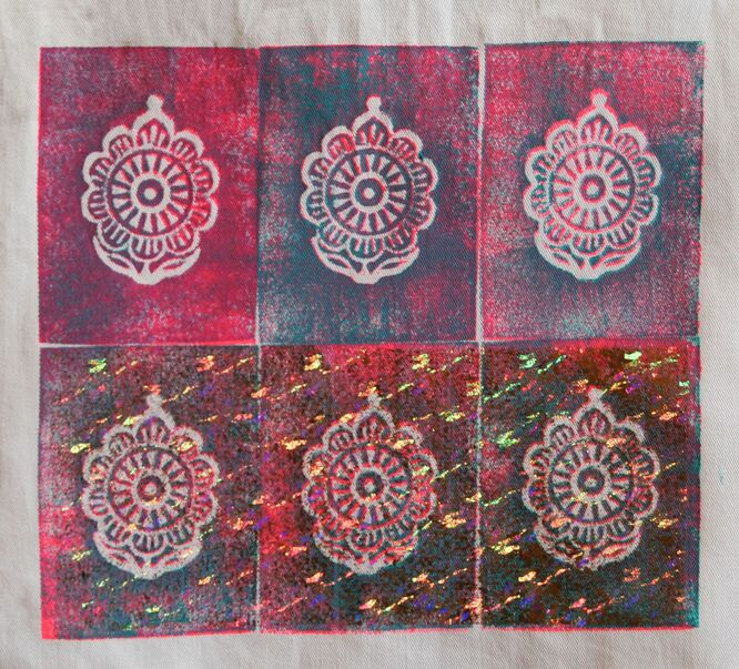 Debbie's Indian motifs....i like the foily twinkle on the bottom three..