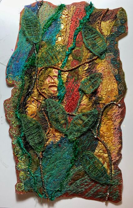 Sian's piece is a wonderful mixture of techniques from 'Waterworld' and' Woodland Textures'
