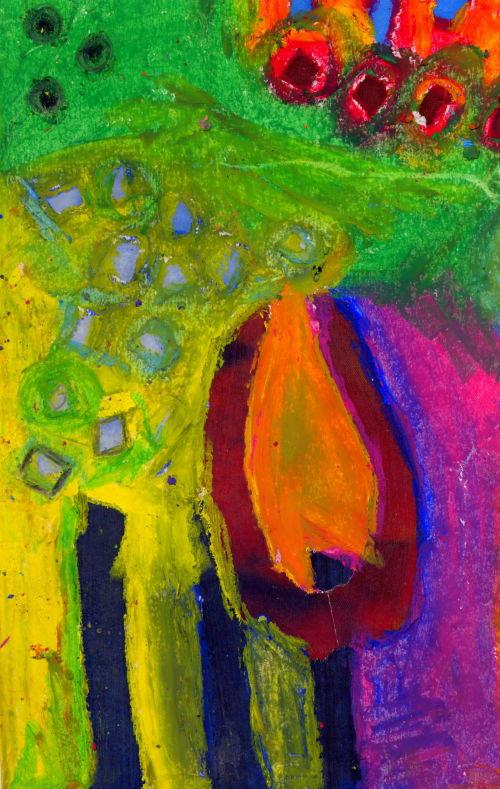 tulip, mixed media, oil pastel