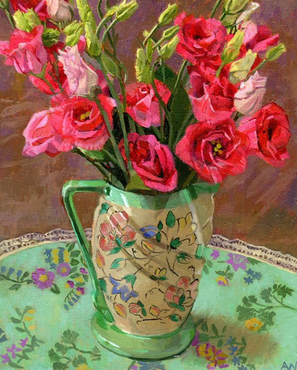 1930s Jug with Lisianthus