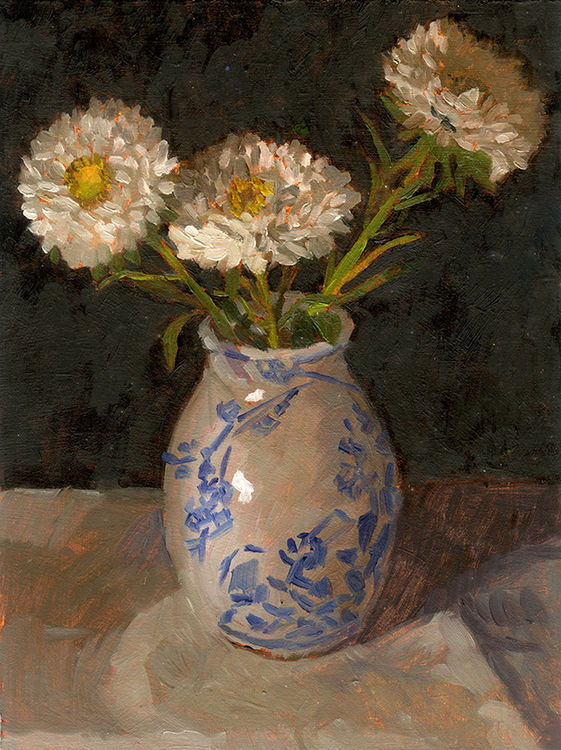 Asters in Blue & White Vase