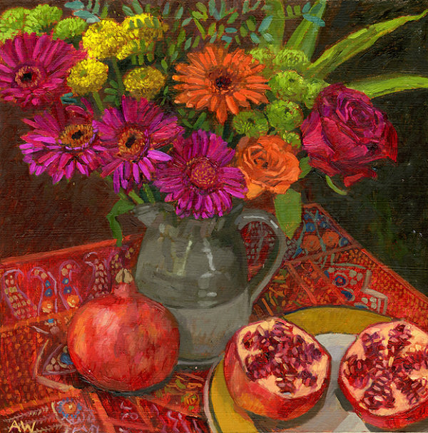 Autumn Flowers and Pomegranates
