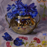 Blue Flowers in Silver Bowl