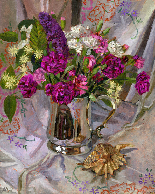 Carnations and Wildflowers in Tankard