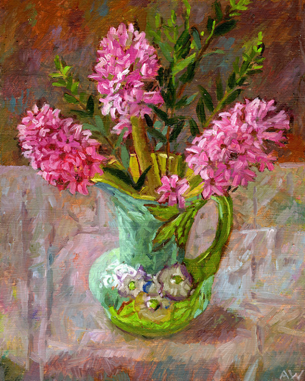 A portrait of 3 pink hyacinths in a colourful vintage jug