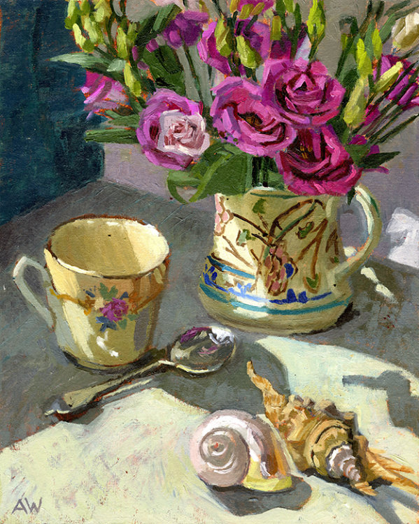 Lisianthus and Two Shells