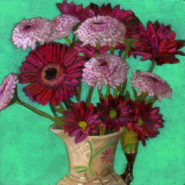 Pink Gerbera, daisies and other pink flowers in a jug with a parrot handle on a bright green background