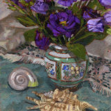 Purple Lisianthus and Two Shells